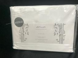 Peacock Alley 100% RAYON FROM BAMBOO white QUEEN SHEET SET u