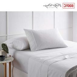 4 Pce 500TC Bamboo Cotton Sheet Set White by Vintage Design