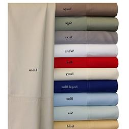 100% Bamboo Bed Sheet Set - Twin Extra Long , Solid Blue - S