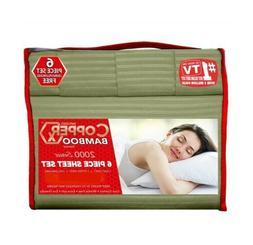 Copper X Bamboo Bed Sheet 6 PIECE SET!!! FULL SIZE DEEP POCK