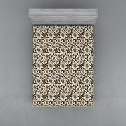 Brown Tones Fitted Sheet Cover with All-Round Elastic Pocket