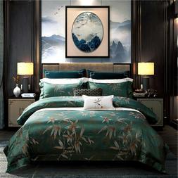Duvet Cover Set & Flat Sheet Luxury Palace Jacquard Bamboo C