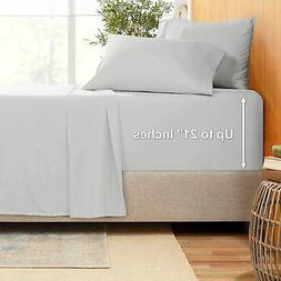 "Extra Deep Pocket Sheets - Bamboo Blend 4-Piece 21"" Bed Sh"
