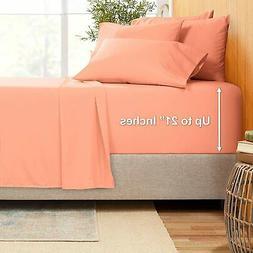 "Extra Deep Pocket Sheets - Bamboo Blend 6-Piece 21"" Bed Sh"