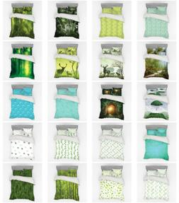 Ambesonne Green Bedding Set Duvet Cover Sham Fitted Sheet in