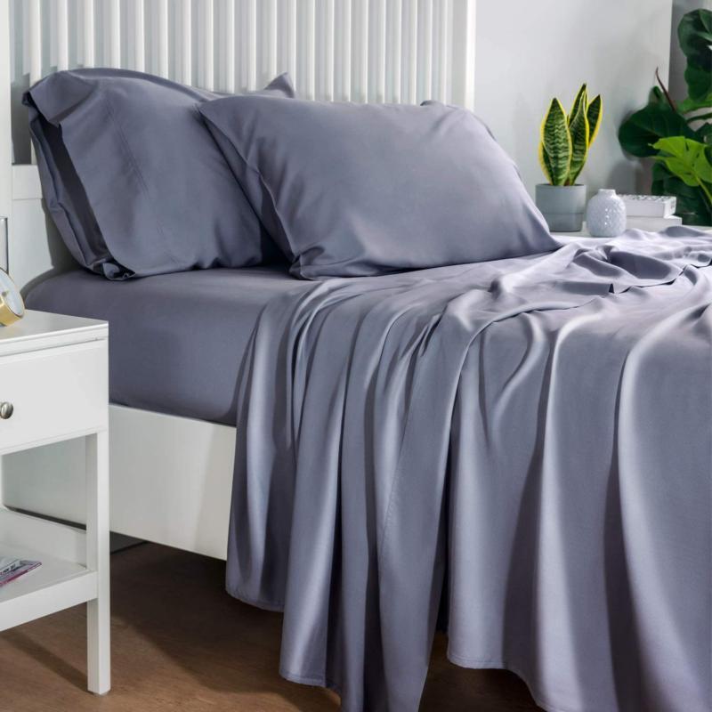 Bedsure 100% Bamboo Sheets Twin Size Cooling Sheets Deep Poc