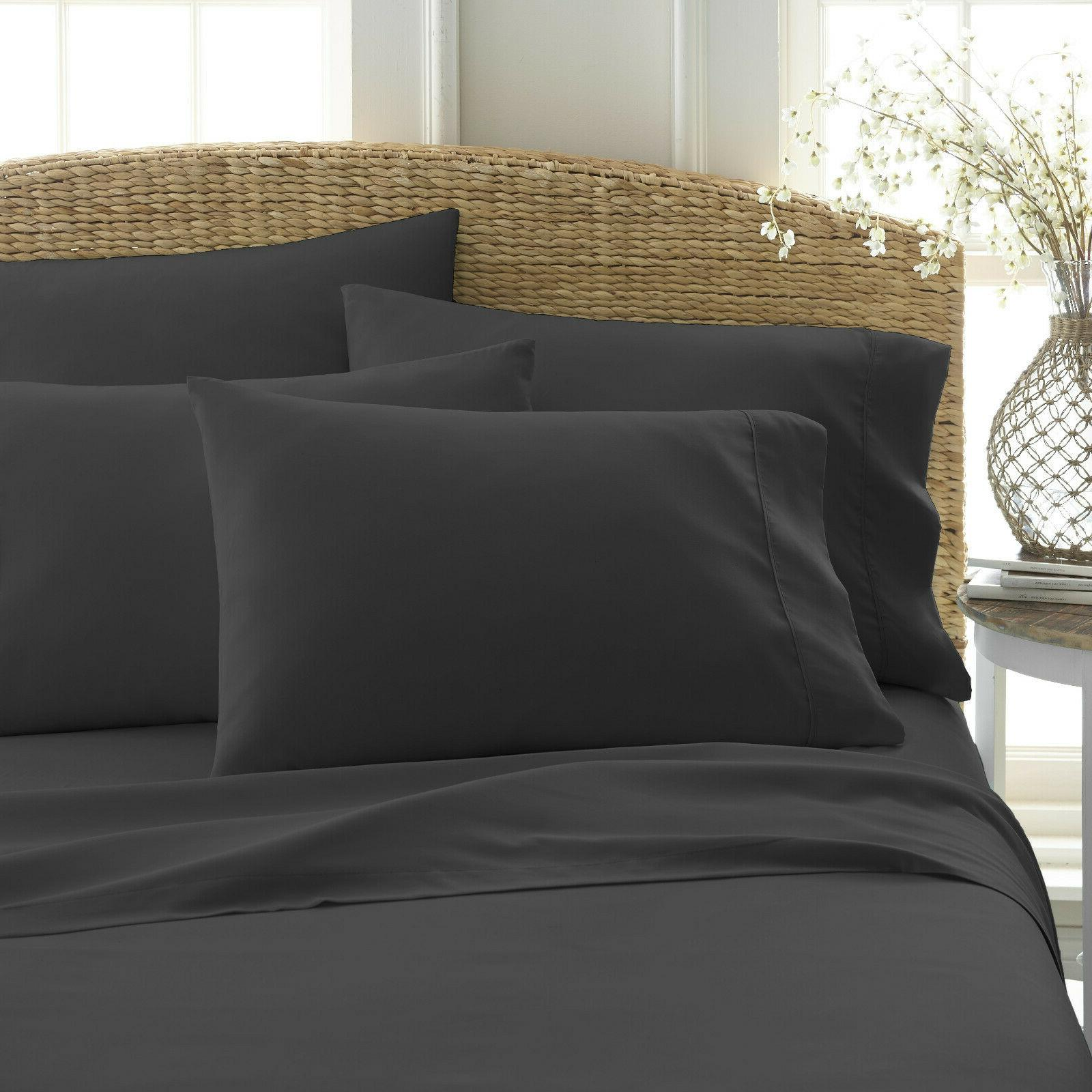 6 Piece 2100 Count Super Soft Egyptian Bamboo Bed Sheet Set