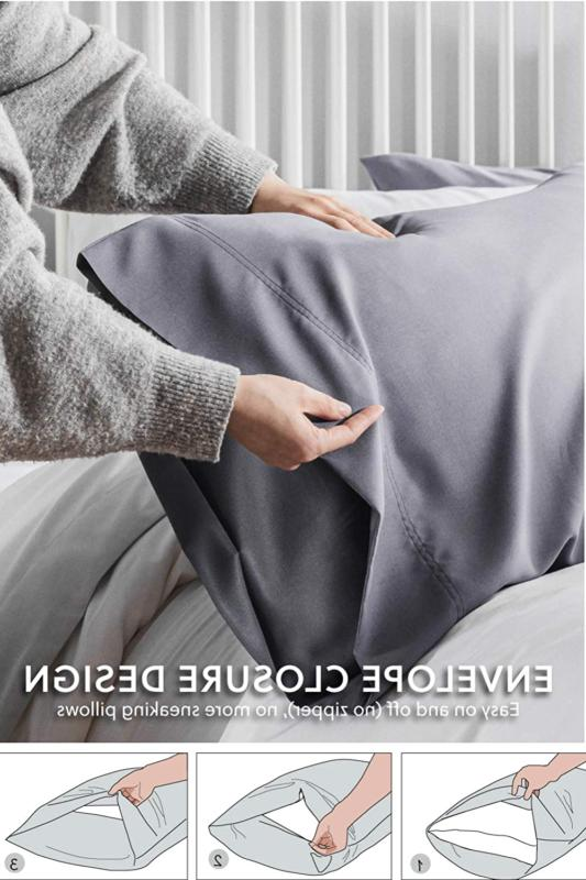 Bedsure Bamboo Pillowcases Set of 2 Breathable Cool Ultra Pillow