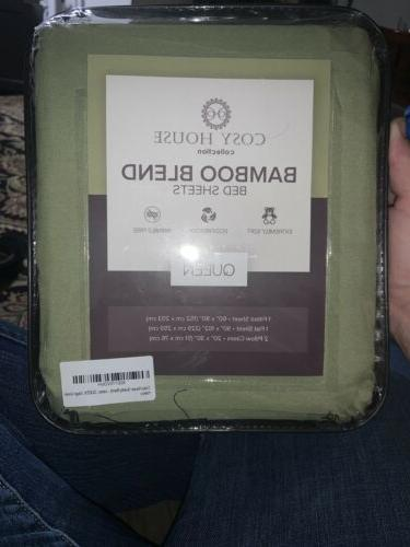 luxury bamboo sage green queen bed sheet