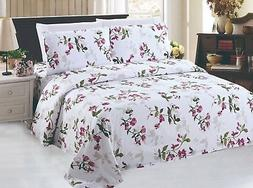 Rich Printed Bamboo 6 Pieces Sheets Set, Light Floral Patter