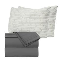 Set of Egyptian Comfort 4 Piece Bed Sheet Set & 2 Hypoallerg