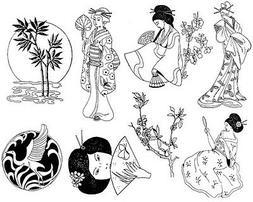 Unmounted Rubber Stamp Sheets,  Asian, Geisha, Crane, Bamboo