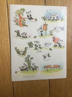 Vintage Hallmark 1989 Sticker Sheet Pandas Bamboo Cute