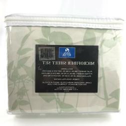 Vtg Dan River Microfiber Twin Sheet Set 3 Piece Green Bamboo