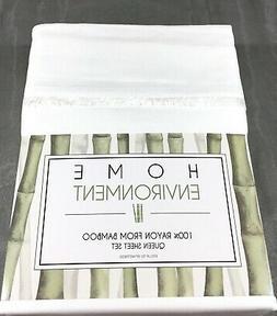 White QUEEN Sheet Set 100% BAMBOO Home Environment Eyelash E